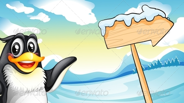 Penguin Beside Wooden Arrow