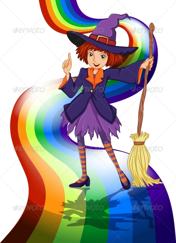 GraphicRiver Witch at Rainbow 7926629