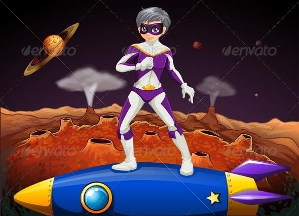 Superhero Standing on Rocket