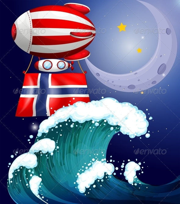 Floating Balloon with Flag of Norway
