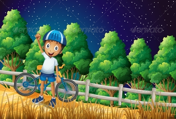 GraphicRiver Boy with Bike Standing in Forest 7926966