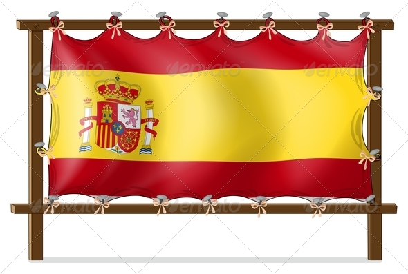 Flag of Spain attached to Wooden Panel