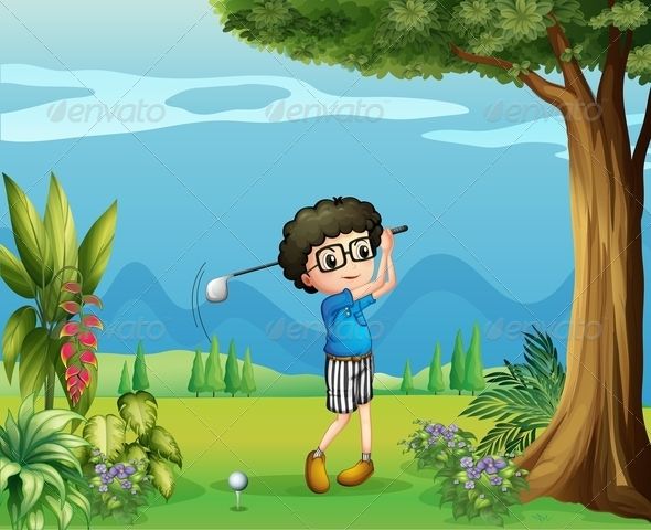 GraphicRiver Boy Playing Golf 7927090