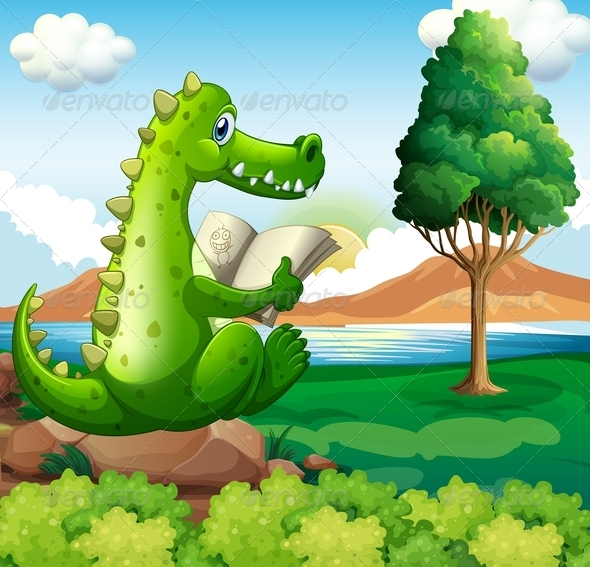 GraphicRiver Crocodile Reading by a River 7927457