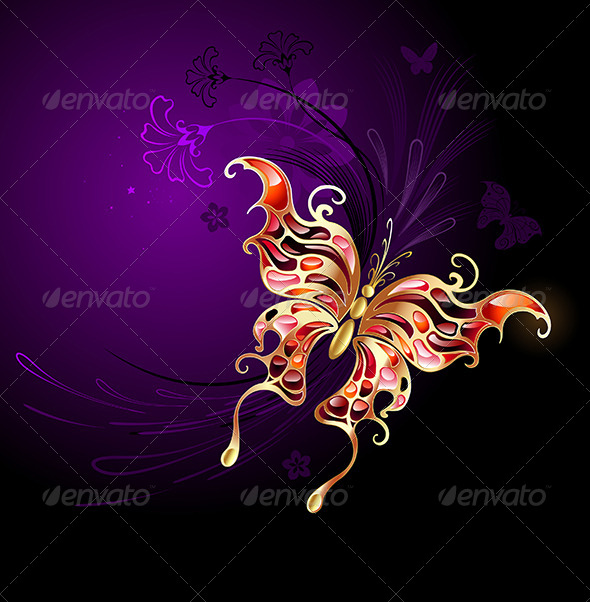 GraphicRiver Gold Butterfly on a Purple Background 7927473