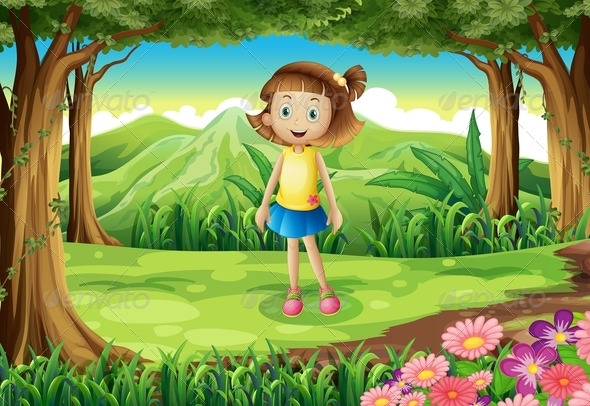 GraphicRiver Girl standing in a Forest 7927474