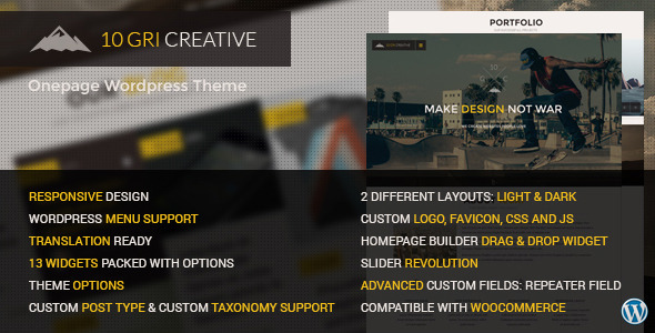 10GriCreative Responsive Onepage WordPress Theme - Creative WordPress