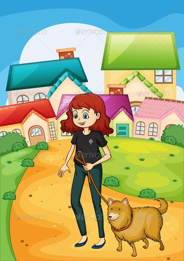 GraphicRiver Lady walking her Pet 7927579