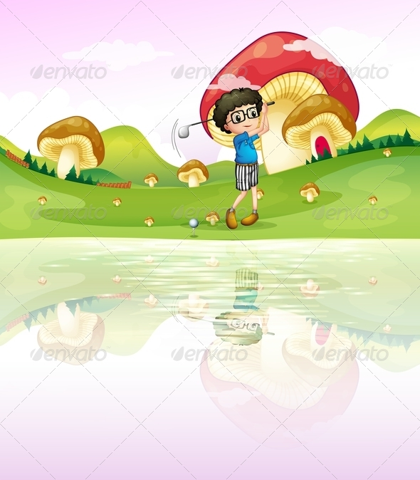 GraphicRiver Boy playing Golf by a Riverbank 7927587