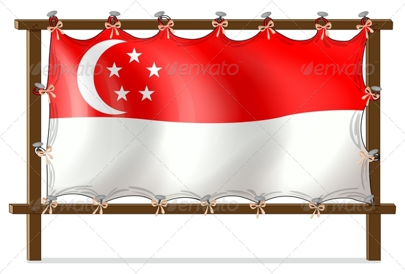 Flag of Singapore attached to Wooden Panel