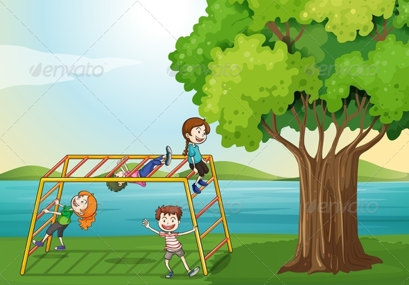 GraphicRiver Kids Climbing near the Tree 7927605