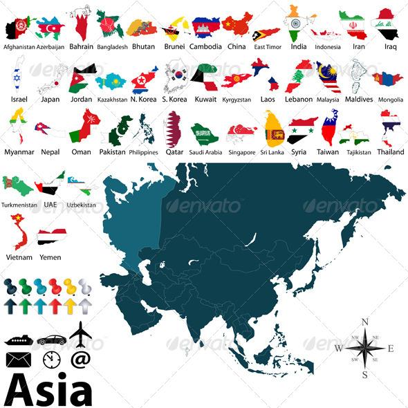 GraphicRiver Political Maps of Asia 7927703
