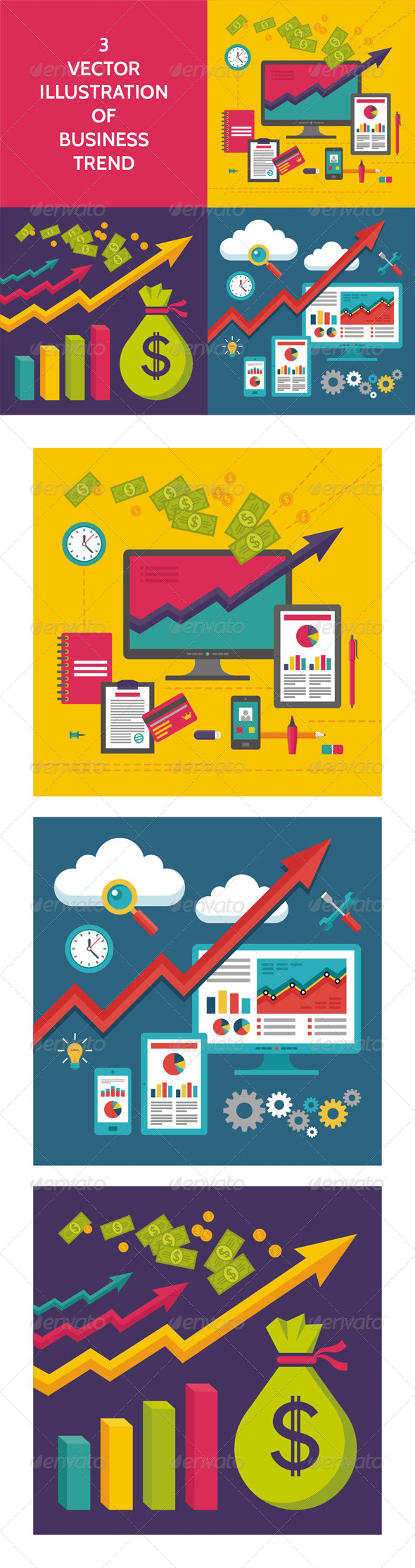 GraphicRiver 3 Business Trend Illustration in Flat Design Style 7927704