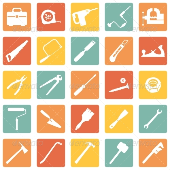GraphicRiver Set of Work Tools Icons 7927711