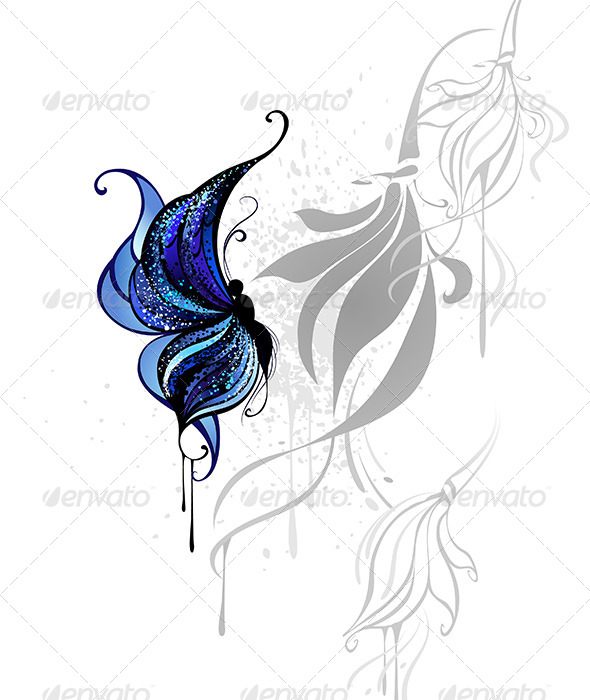 GraphicRiver Dark Blue Butterfly 7927725