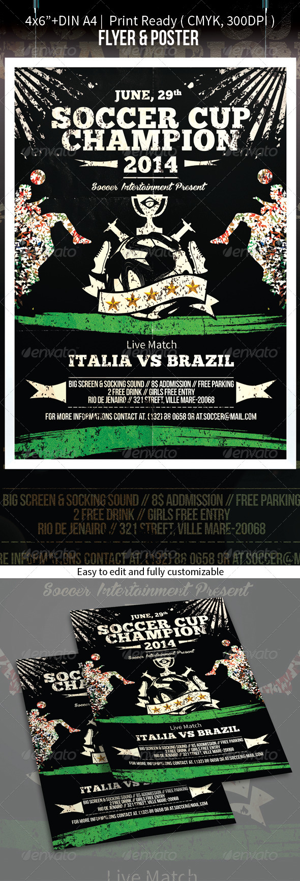 Soccer Cup Brazil 2014 Football Flyer