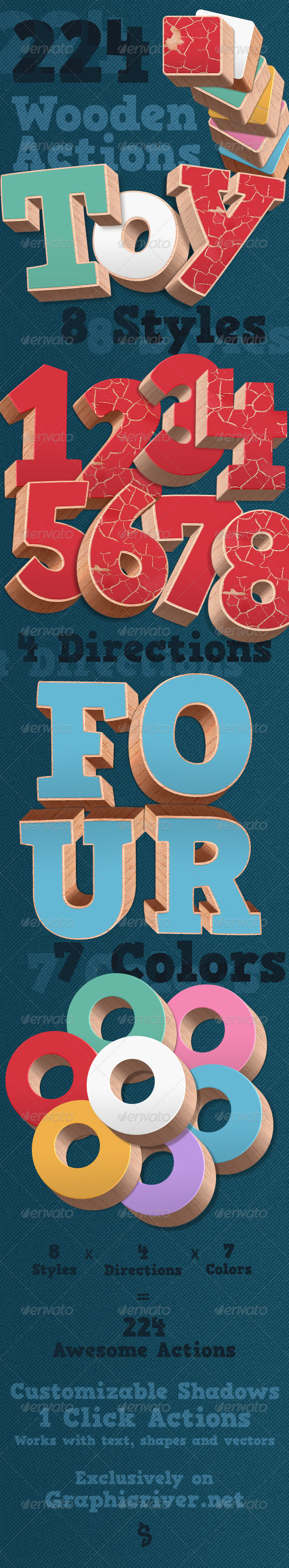 3D Wood Actions - Text Effects Actions