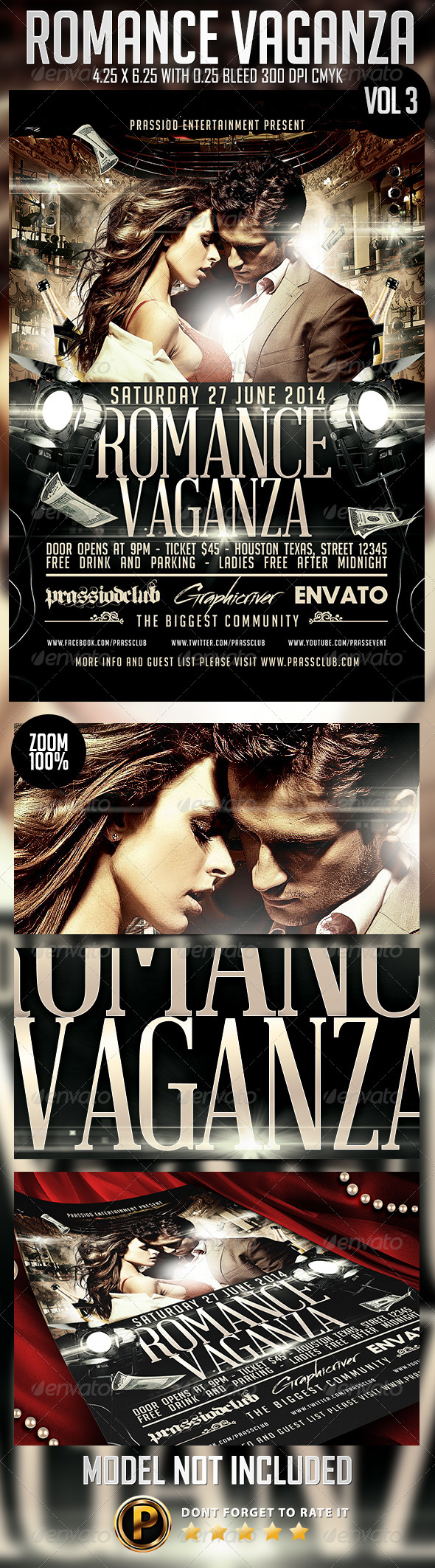 Romance Vaganza Flyer Template Vol 3 - Clubs & Parties Events
