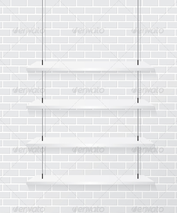 Brick Wall and White Shelves