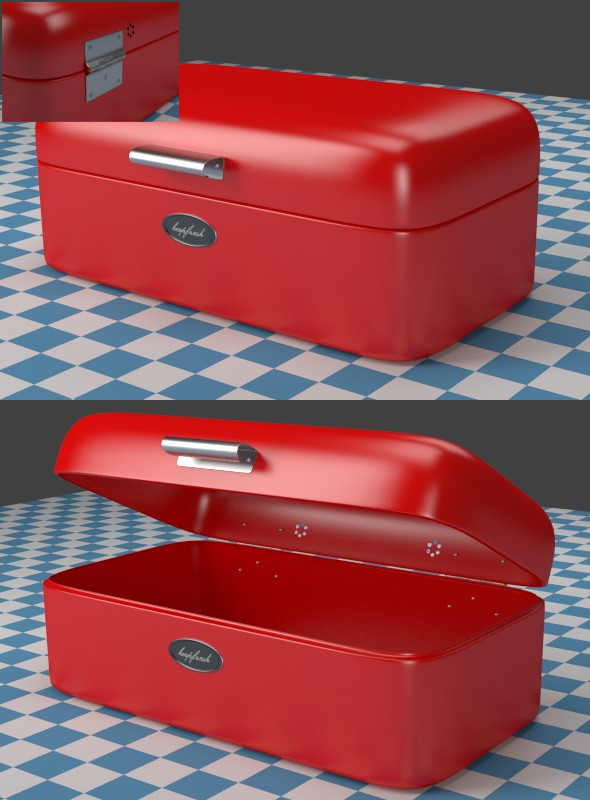 Breadbox red - 3DOcean Item for Sale