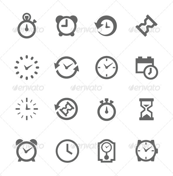 GraphicRiver Simple Icon set Related to Time 7928830