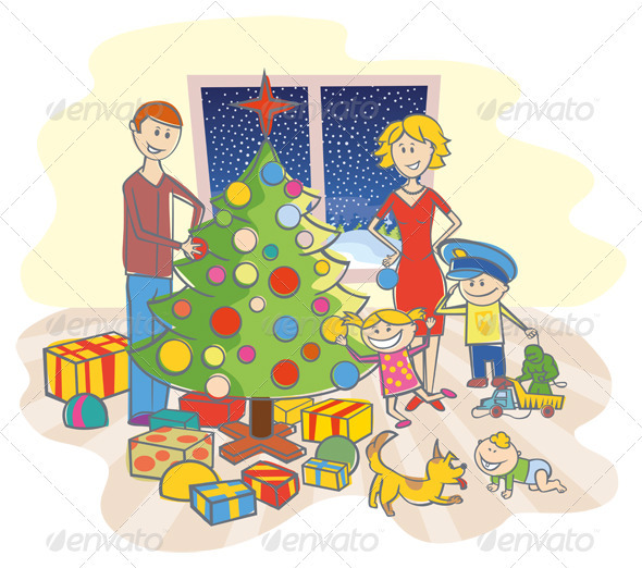 GraphicRiver Happy Family Dressing Up The Christmas Tree 808606