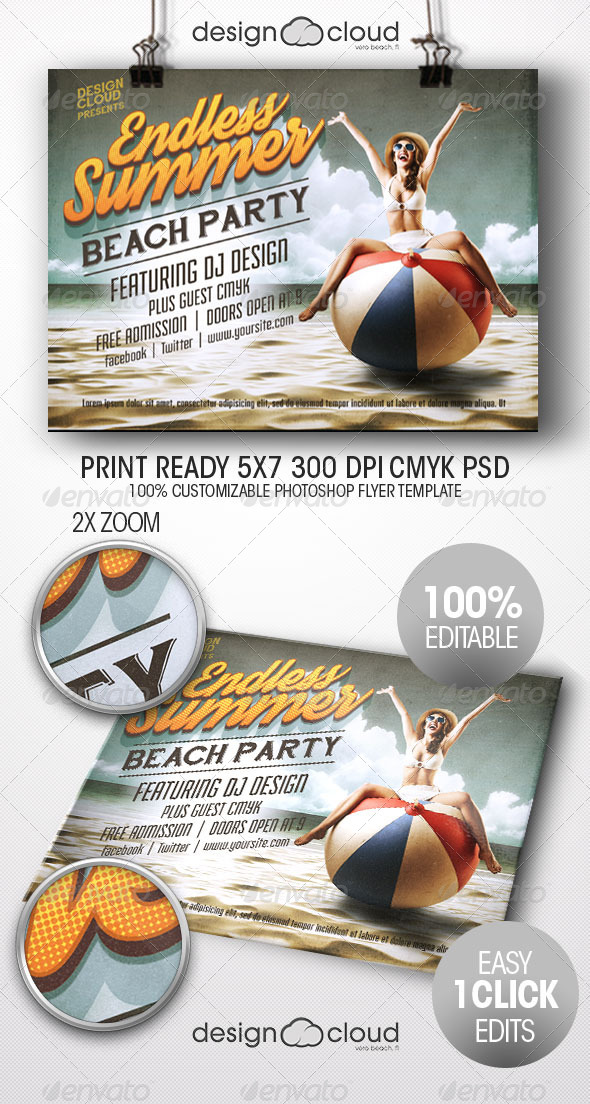 GraphicRiver Endless Summer Beach Party Flyer Template 7929581
