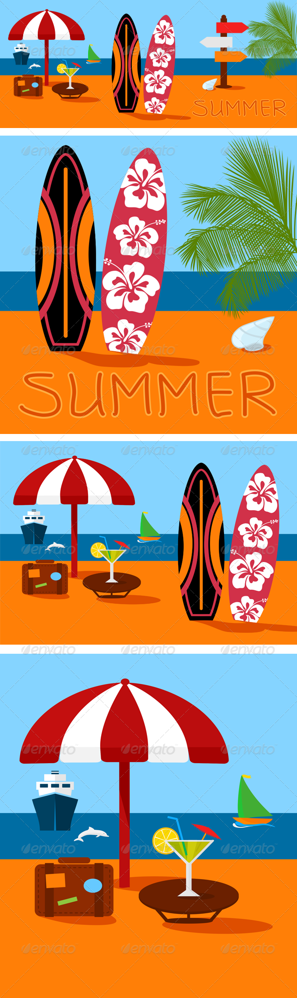 Summer Beach Vector Illustration