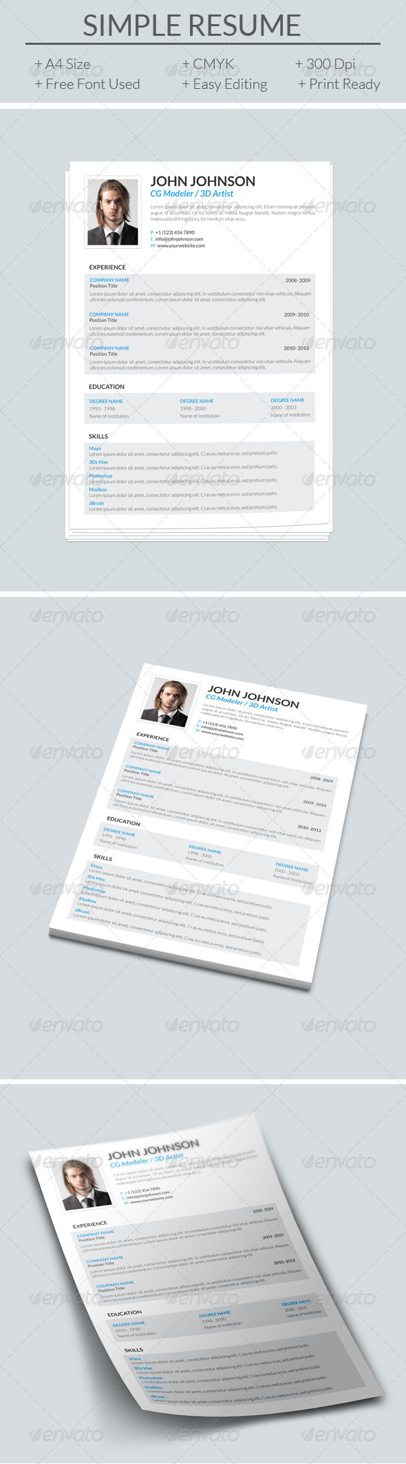 GraphicRiver Simple Resume 7929723