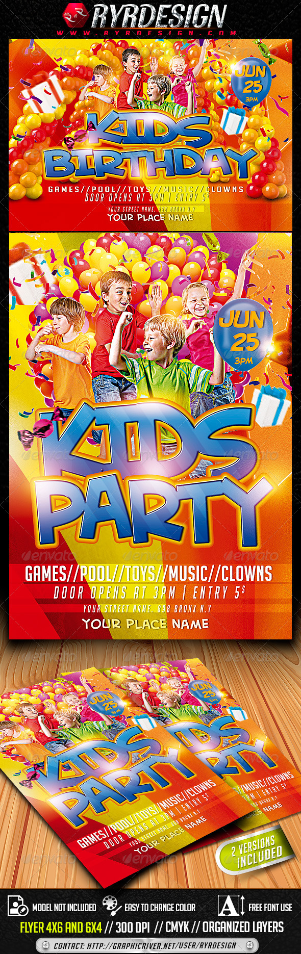 GraphicRiver Kids Party PSD Flyer Horizontal And Vertical 7921344