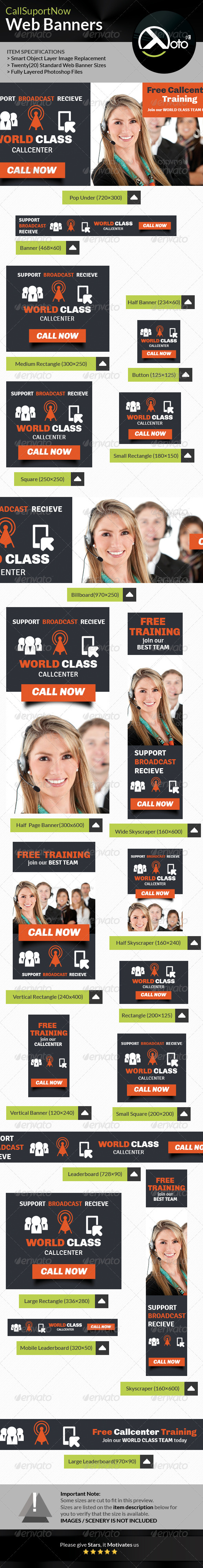 GraphicRiver Call Support Call Center Solutions Web Banners 7930492