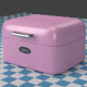 A small pink Breadbox