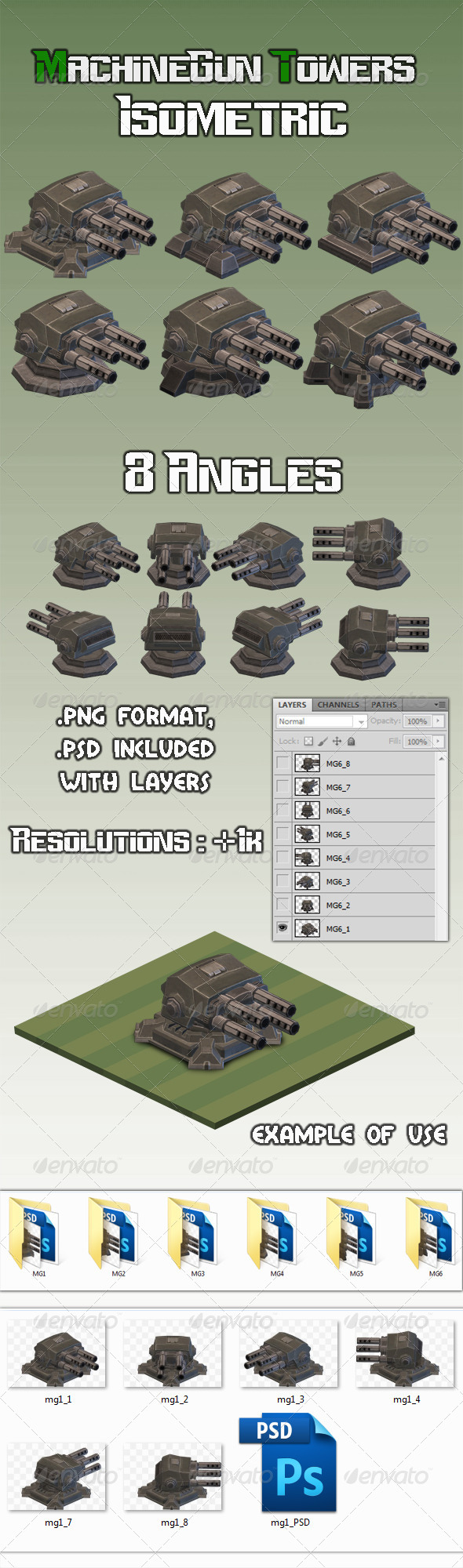GraphicRiver Machinegun Turret 1 Isometric 7930598