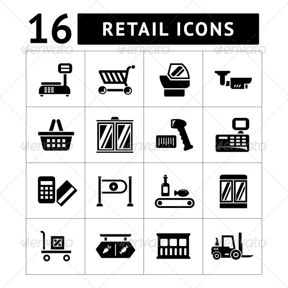 GraphicRiver Set Icons of Retail and Supermarket Equipment 7930966