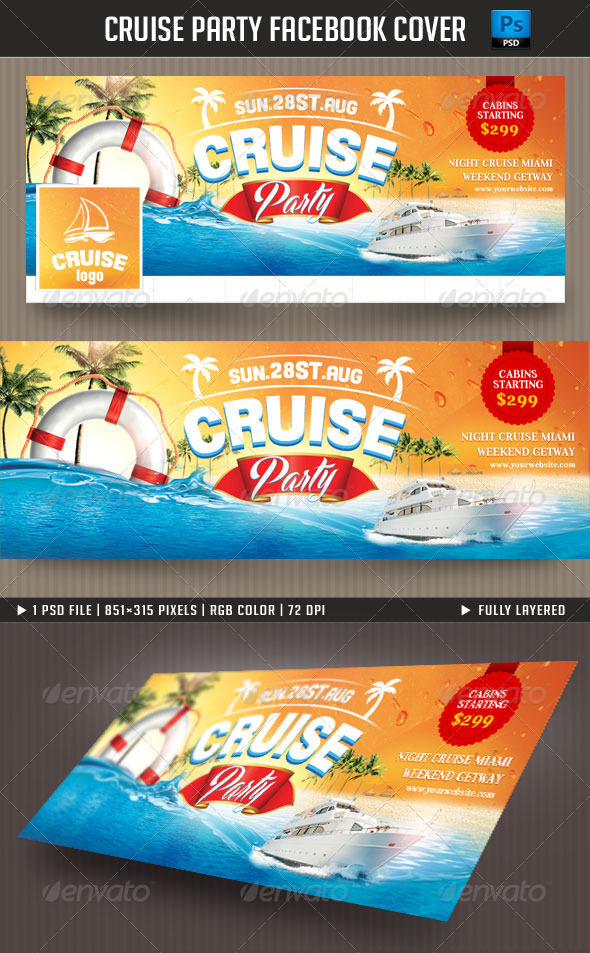 GraphicRiver Cruise Party Facebook Cover 7930971