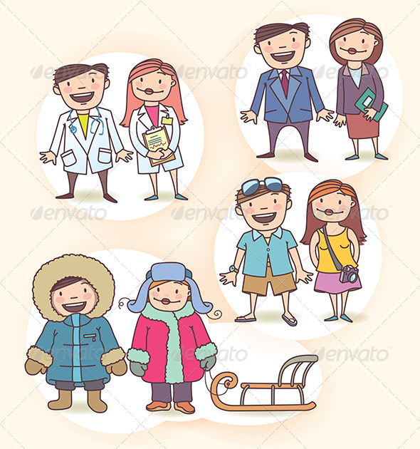 GraphicRiver Doctor Nurse Business People and Tourist s Couple 7931041