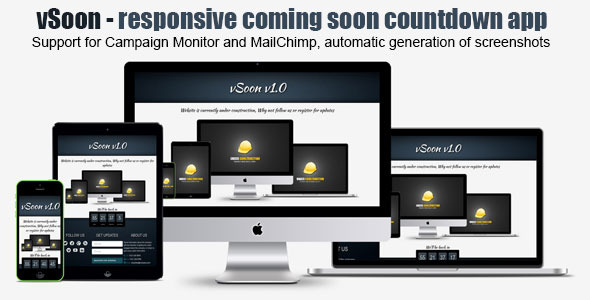 vSoon - Responsive Coming Soon With Countdown