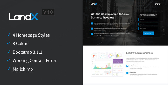 LandX - Multipurpose Bootstrap 3 Landing Page - Marketing Corporate