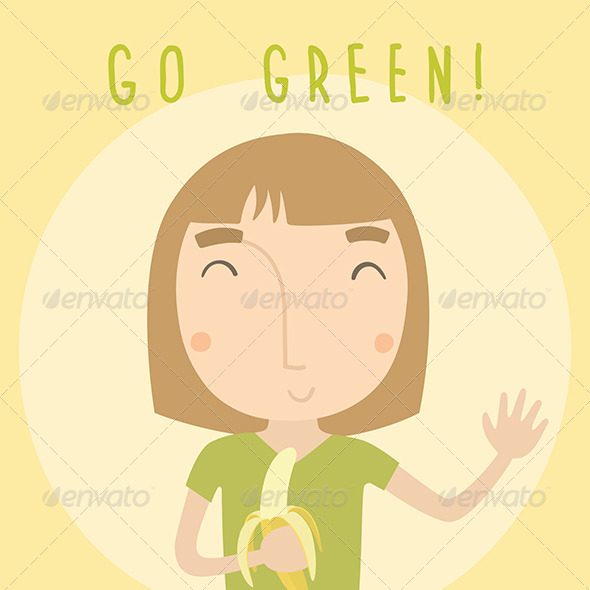 GraphicRiver Go Green Girl with Banana 7726071