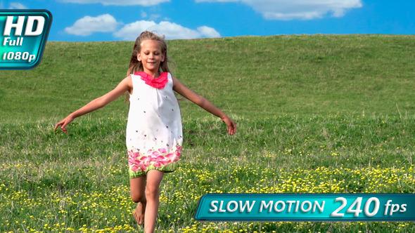 Girl Runs Across the Field