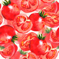 Watercolor Vegetable Seamless Background with Tomatoes - PhotoDune Item for Sale