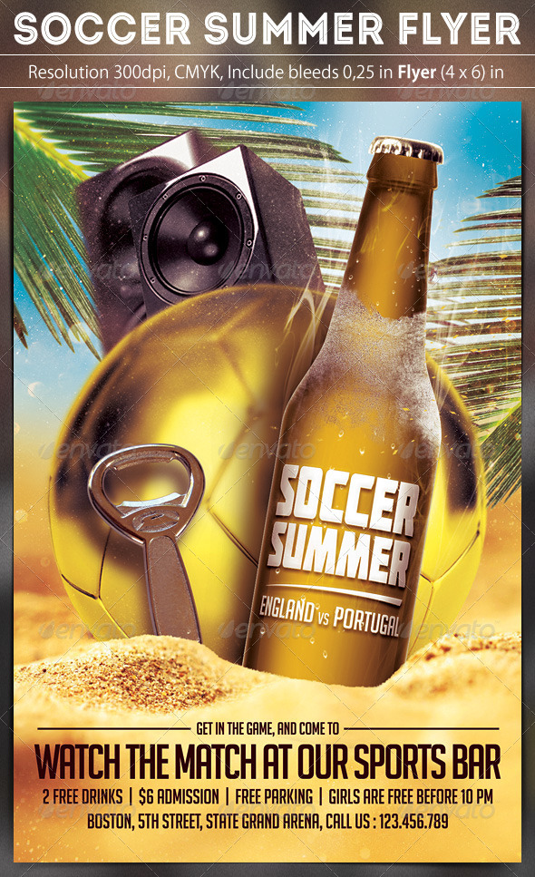 GraphicRiver Soccer Summer Flyer Template 7933416