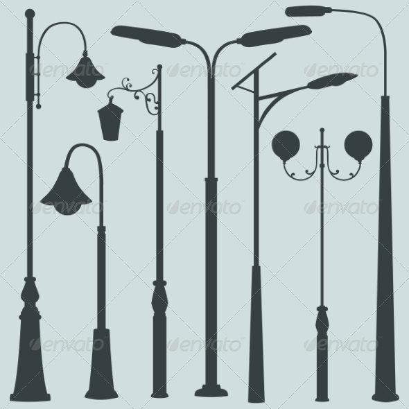 GraphicRiver Vector Set of Street Lights Silhouettes 7933495