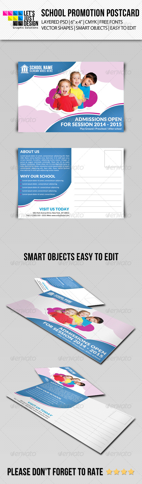 GraphicRiver School Promotion Postcard Template 7933627