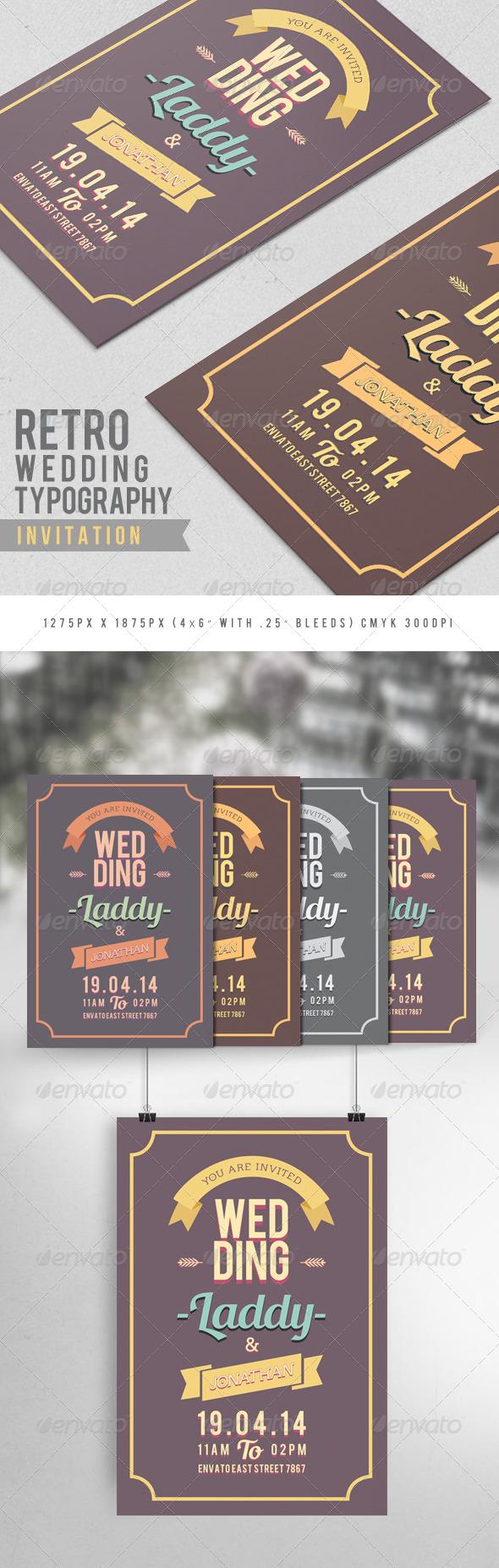 GraphicRiver Retro Wedding Typography Invitation 7934511