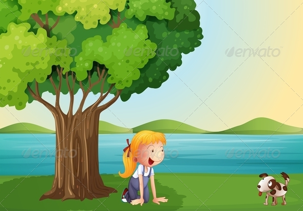 Young Girl and Her Pet Near the Tree