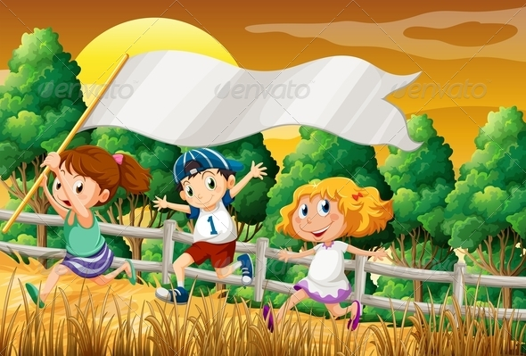 GraphicRiver Kids at the Woods Holding an Empty Banner 7934591