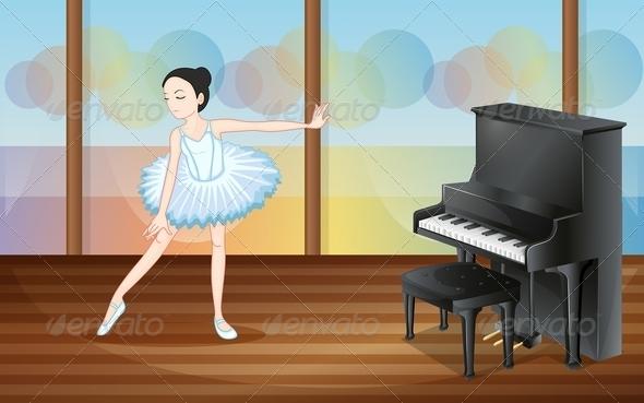 GraphicRiver Ballet Dancer Near the Piano 7934593