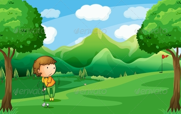 GraphicRiver Woman Playing Golf 7934901