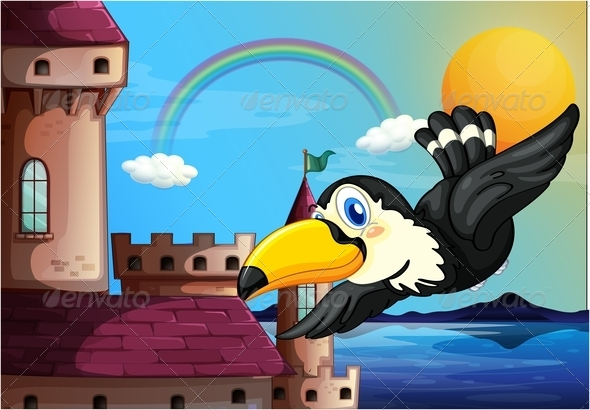 GraphicRiver Bird Near the Castle with a Rainbow in the Sky 7935055